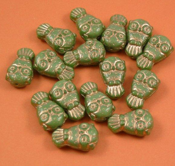 10 Czech Glass Owls Opaque Green