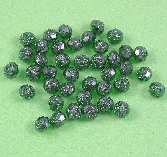 Czech Glass Rosebud Firepolish Beads Emerald green luster 20