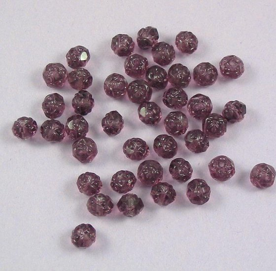 Czech Glass Rosebud Firepolish Beads Amethyst Purple 20