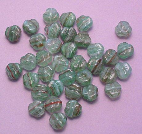 Hurricane Glass Czech pansy flower beads green swirl 20