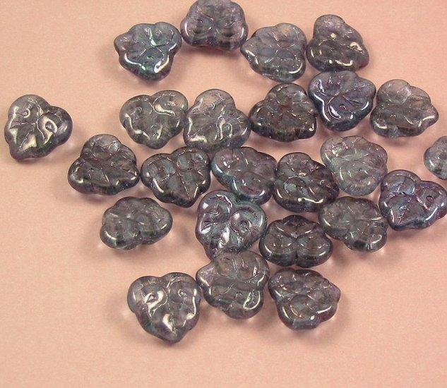 Purple Luster Leave Beads 20