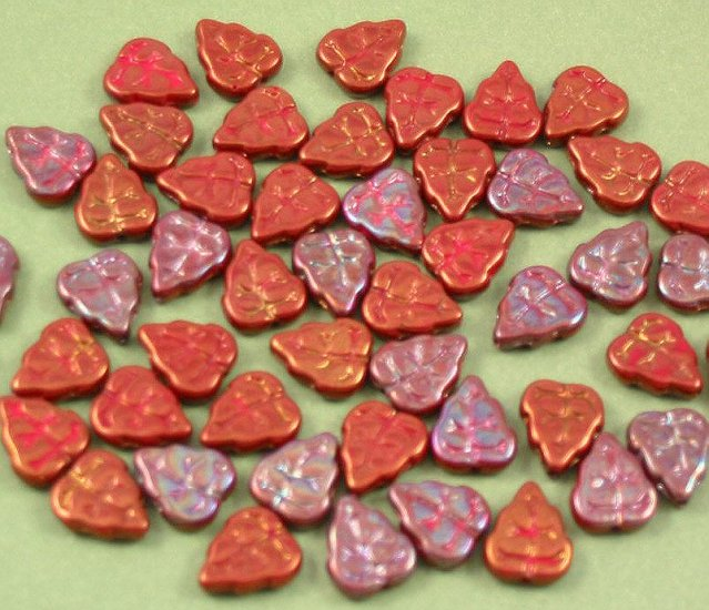 Bronze and red glass Leaf beads