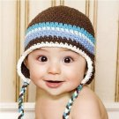 (Free shipping)Handmade lovely baby/child hats(blue&white stripe)