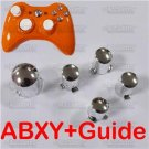 CHROME ABXY A B X Y + Guide Button  Xbox 360 Controller