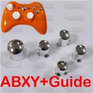 CHROME ABXY A B X Y + Guide Button  Xbox 360 Controller