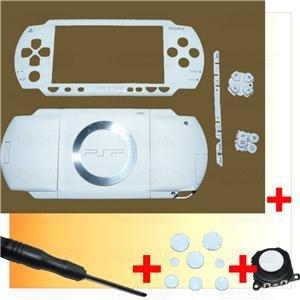 PSP 1000 Full Housing Shell Case Cover + Joystick WHITE