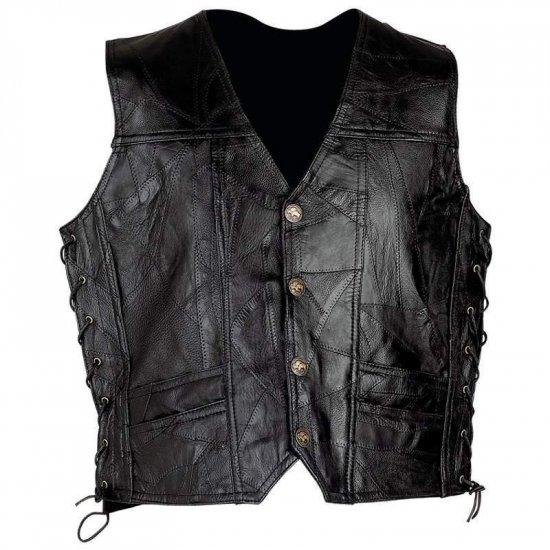 Diamond Plate� Rock Design Genuine Leather Vest (Medium)