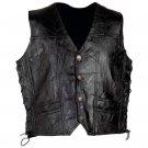 Diamond Plate™ Rock Design Genuine Leather Vest (Medium)