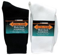 WHITE Extra Wide Medi Socks Size 8 - 11 Medical Purposes 100% Cotton 5800-811-WT