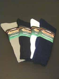 WHITE Extra Wide Crew Socks Size 8 - 11 Wide Feet Swollen Legs Medical Reasons Sock 6100-811-WT