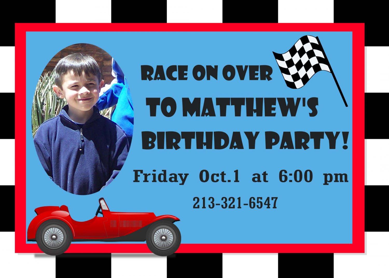 Custom Invitations Personalized DIGITAL Birthday Race Car Invite