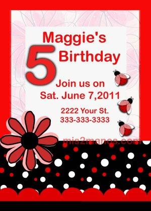 Custom Invitations Personalized DIGITAL Birthday Ladybug Invite