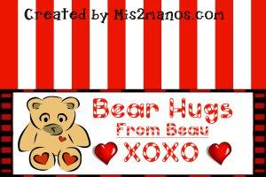 Valentine Bear Treat Bag Topper- Bear Loves Candy Shop Printables