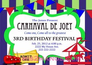 Carnival Birthday Party Invitation diy Printable Blue Green custom order Carousel Party