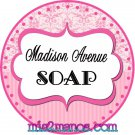 Personalized Label Sticker 2 inch Round Sticker Pink Stripes and Pink Damask