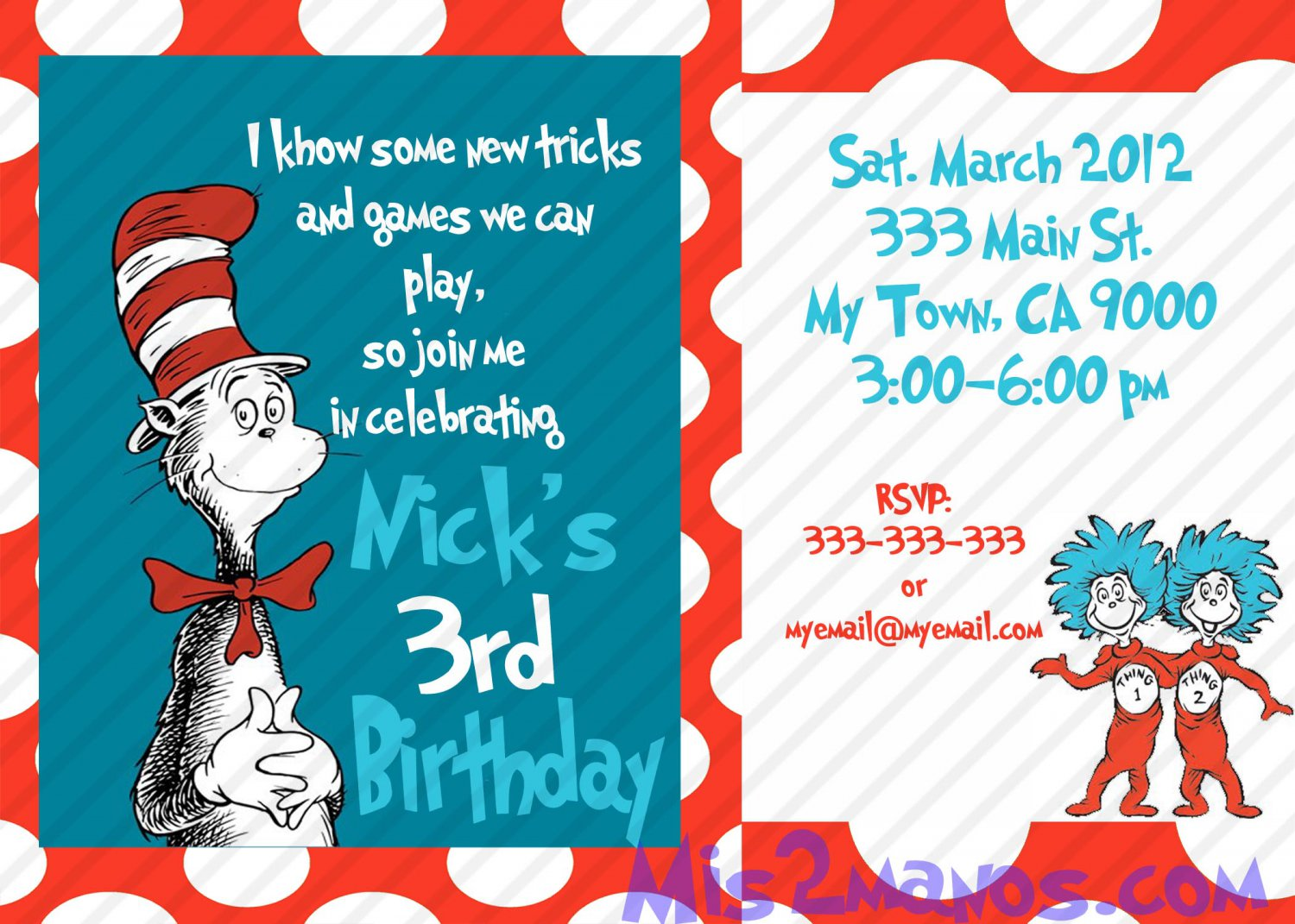 Cat in the Hat Birthday Invitations Printable One Hour Printable ...
