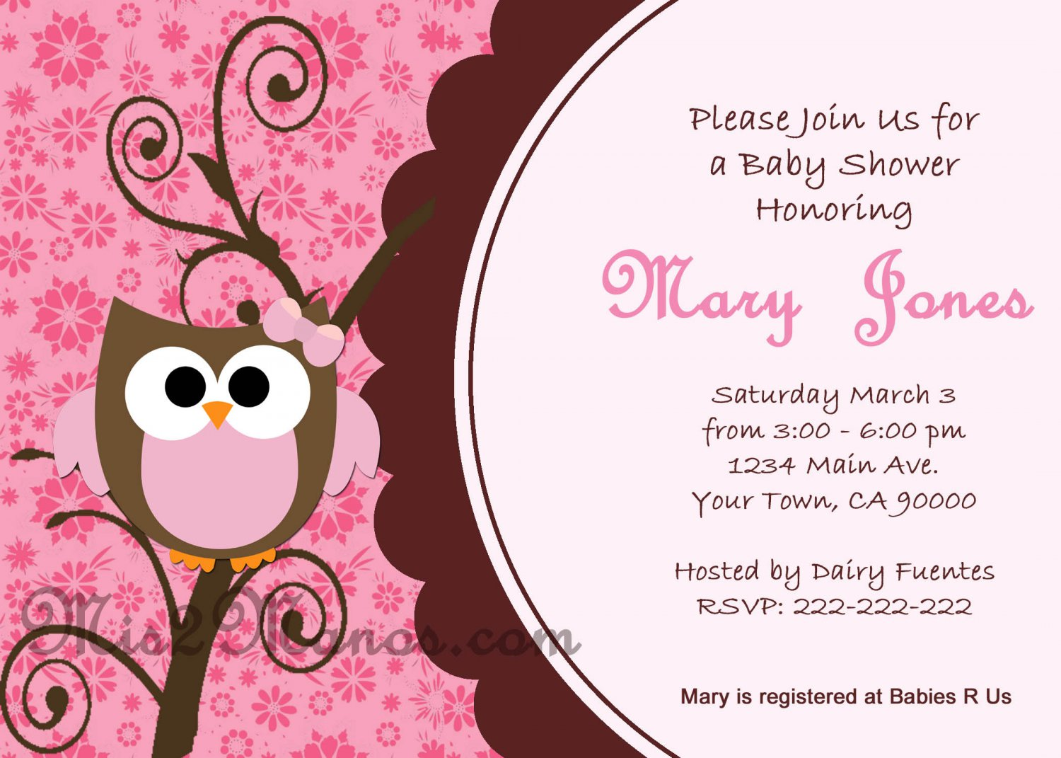 Baby Shower Owl Invitations Printable Pink Owl custom order Party ...