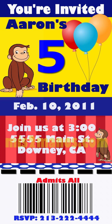 Curious George Birthday Ticket Invitations Printable 3x6, One Hour Printable Photo