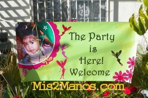 Birthday Banner 2'x4' Indoor/Outdoor: Fairy Party, Custom Design w/Name or Store Logo
