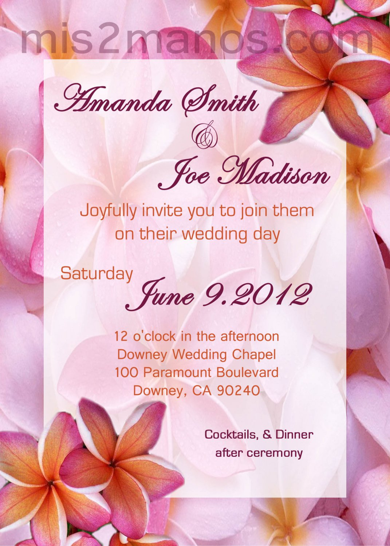 Hawaiian Wedding Invite DIY Custom Printable Wedding Invitations Pink