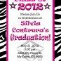 Graduation Invitation diy Printable Party Invites Personalized Custom Orders Zebra Pink Pattern
