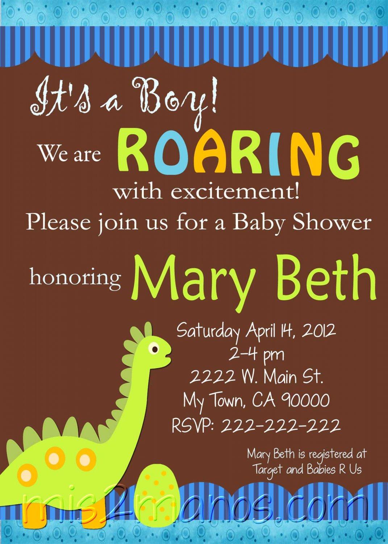 Baby Shower Invitations Printable One Hour Printable Photo Dino ...