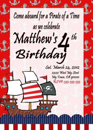 Pirates Theme Birthday Invitations Printable One Hour Printable