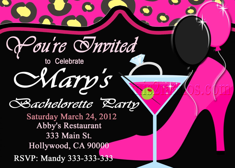 Bachelorette Party Cheetah Invite Diy Custom Printable
