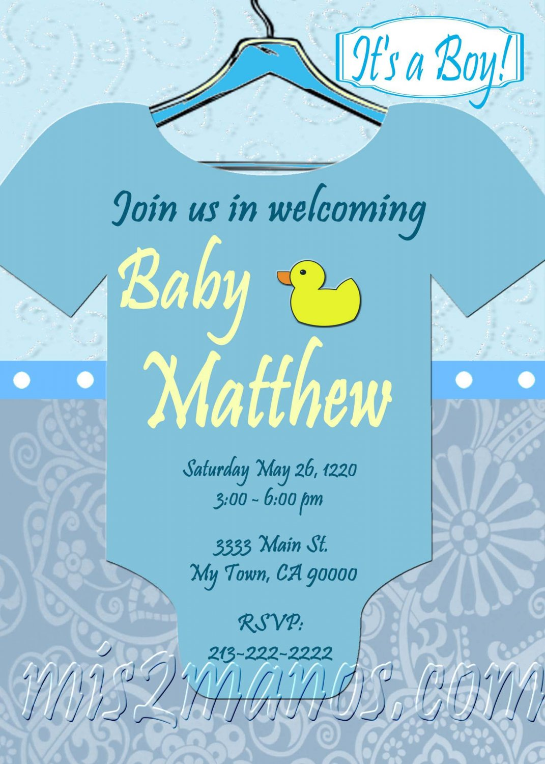 Baby Shower Onesie Invitations Printable Baby Boy custom order Party ...