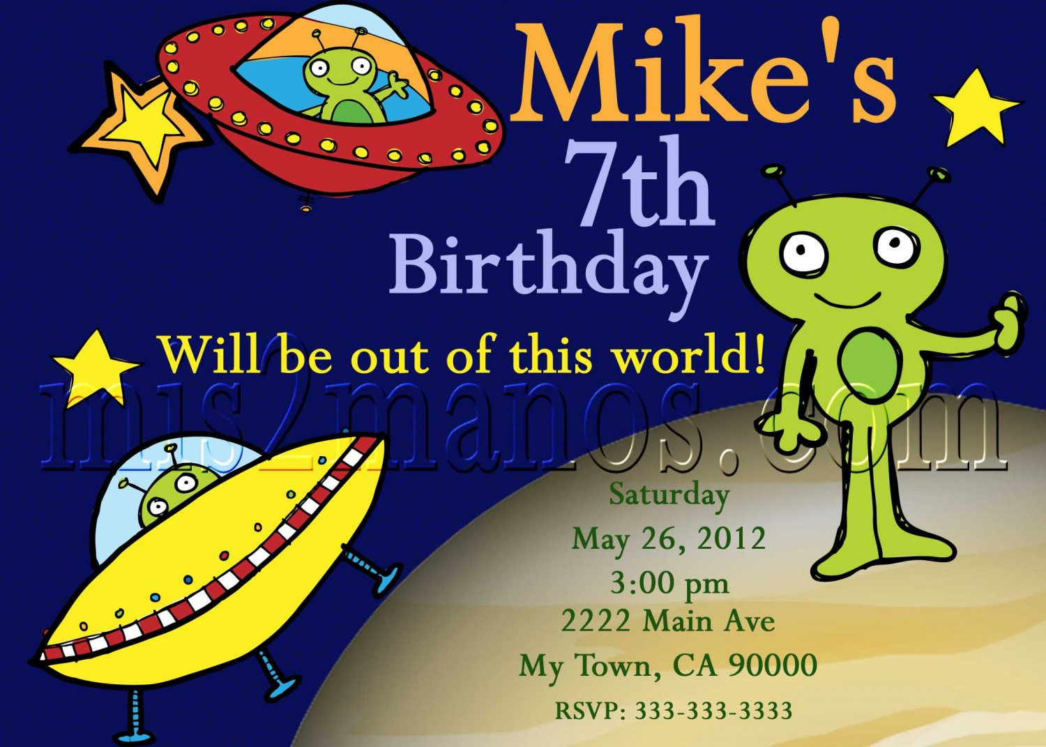Alien Invitations - Outer Space Birthday  Printables DIY You Print at Home Men In Black