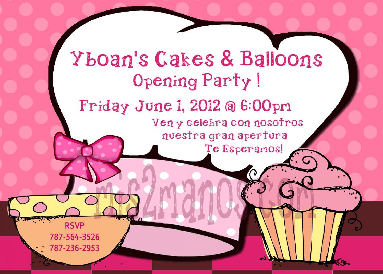 Chef Cupcake Invitations Custom Orders Grand Opening Invitations Gran Apertura Printables