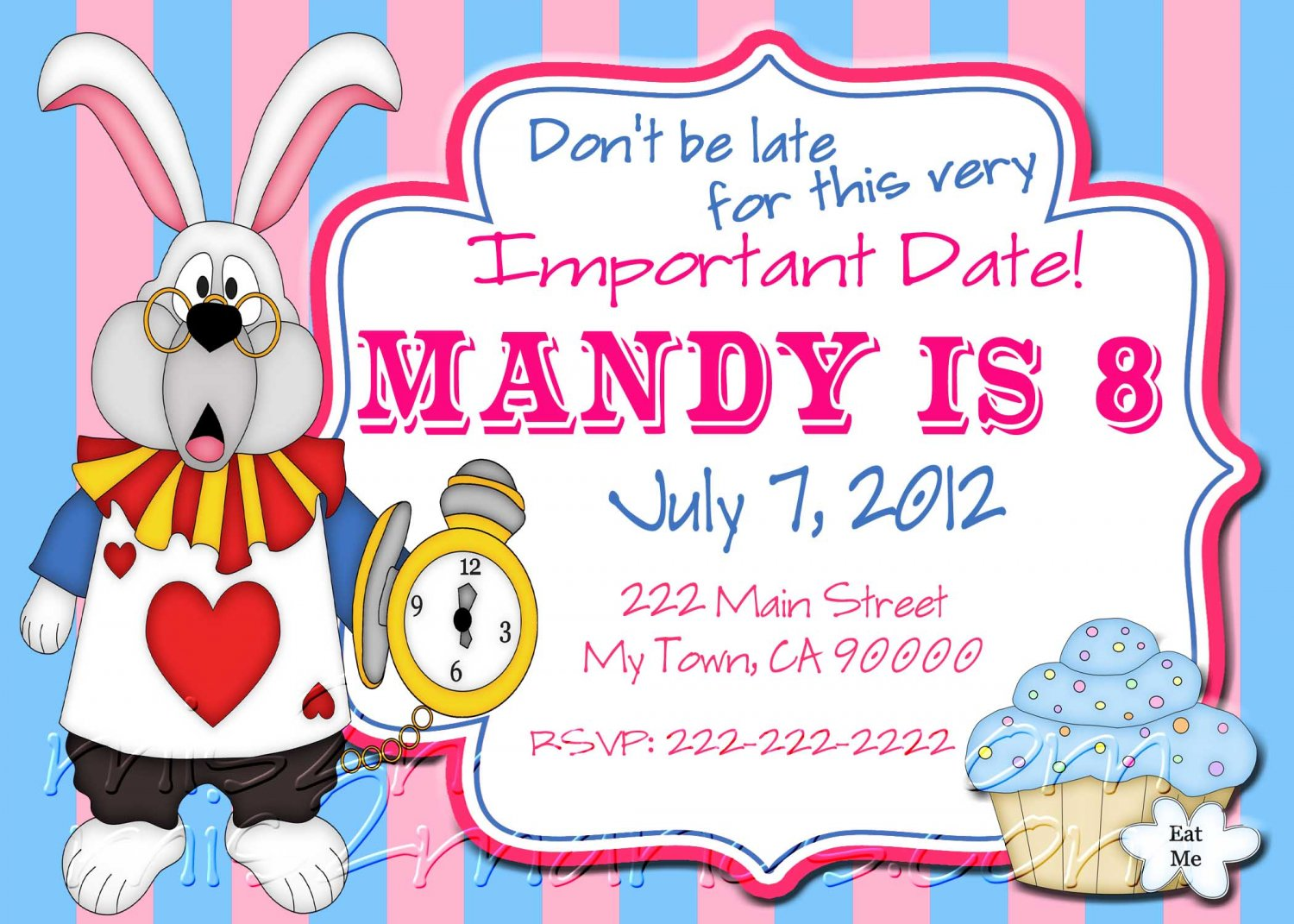 Tea Party Invitations Printable Birthday Alice in Wonderland by Mis2Manos
