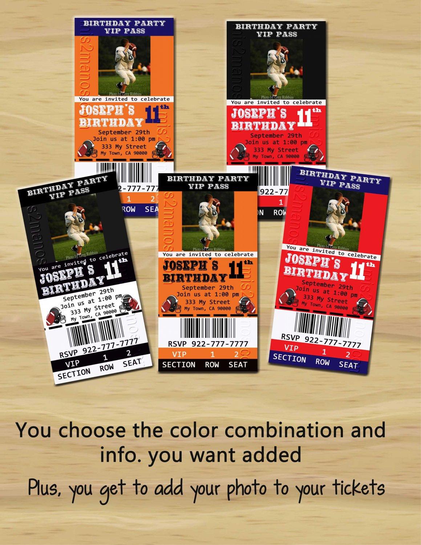 Football Theme Party Printable Ticket Invitations, One HourPhoto Card, DIY Birthday Ticket Cards