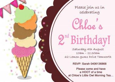 Ice Cream Birthday Ice Cream Shop Party Invitation diy Printable Ice Cream Invitation