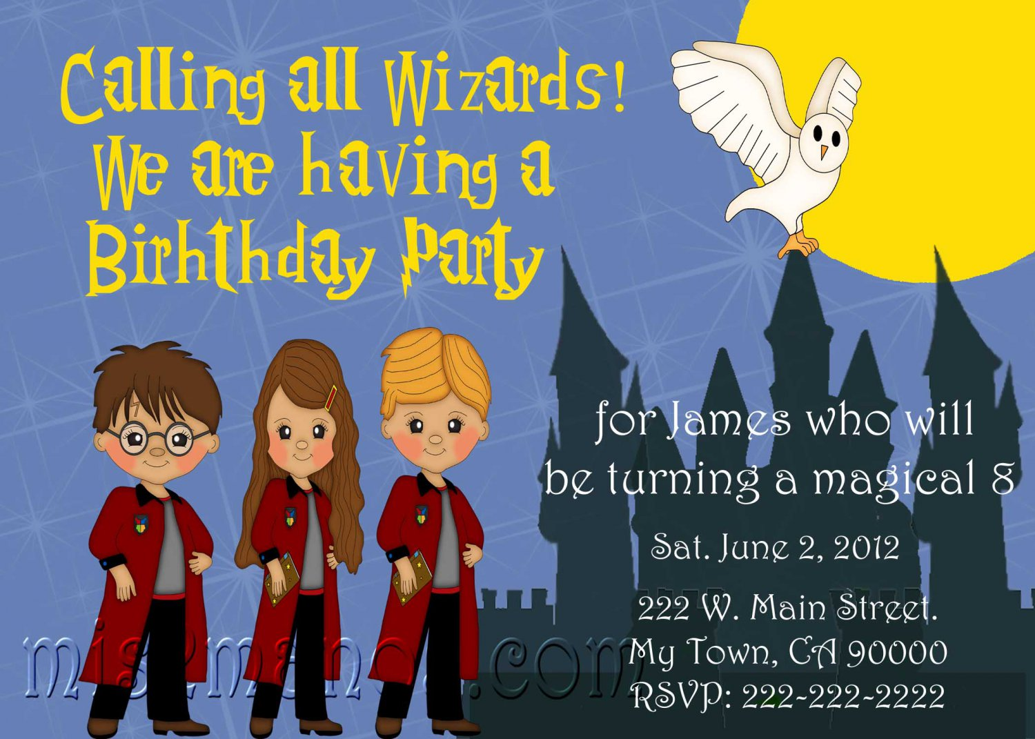 Harry Potter Inspired Invitation Party Invitations Printable Little Monster baby