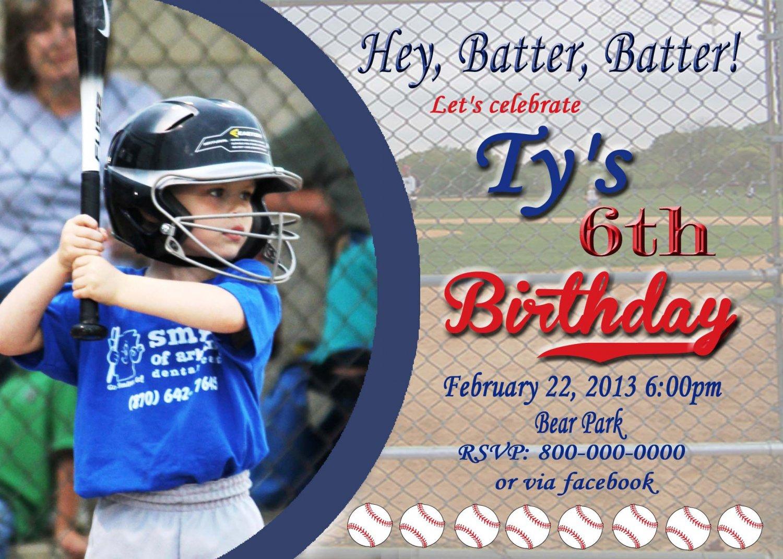 Baseball Invite Custom Invitations Personalized DIGITAL Birthday