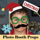 Holiday Christmas Photo Props Set of 16 Christmas Party Printables
