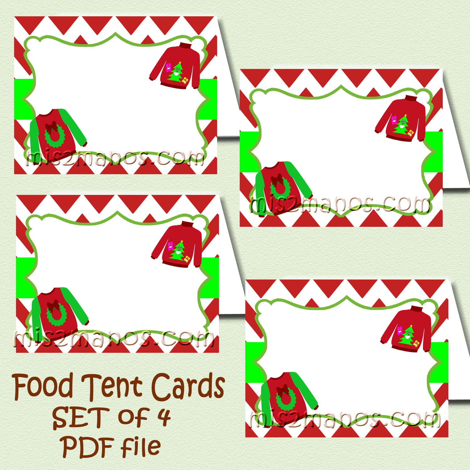 Tacky Sweater Food Tent Printable DIY Set of 4 Blank Ugly Sweater Food Cards Party