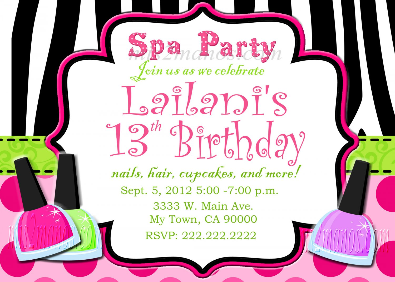 Custom Invitations Personalized DIGITAL Birthday  SPA Zebra Invite