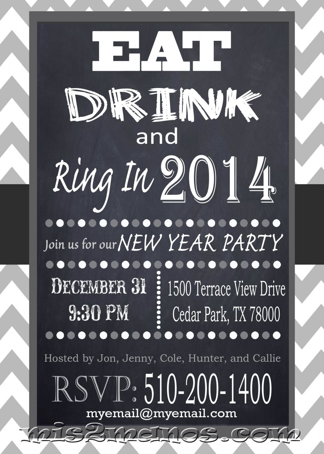 Eat Drink and Ring In the New Year Digital Invite Chevron Gray Chalkboard Printable