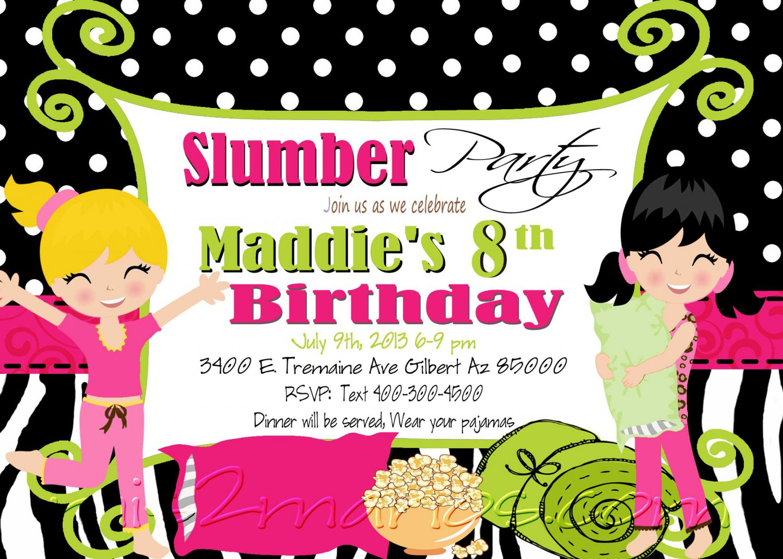 Slumber Party Invitation Sleepover Invite Birthday Party Girls Printable DIY Zebra pattern