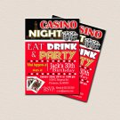 Casino Theme Party, Surprise Birthday Party, Printable 30th 40th 50th 60th Birthday. Black Gold Red