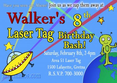 Laser Tag Birthday Invitation - Outer Space Birthday Alien Printable You Print at Home Men In Black