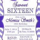 16th birthday invitation, Sweet Sixteen invitation,  Teen birthday Chevron Glitter Purple,
