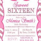 16th birthday invitation, Sweet Sixteen invitation,  Teen birthday Chevron Glitter Pink,