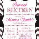 16th birthday invitation, Sweet Sixteen invitation,  Teen birthday Chevron Glitter Black
