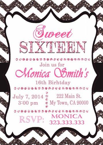 16th birthday invitation, Sweet Sixteen invitation,  Teen birthday Chevron Glitter Black