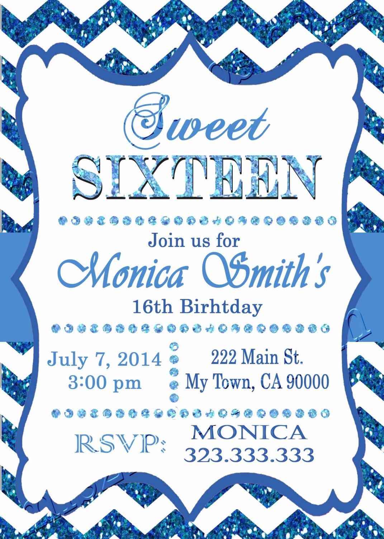 16th birthday invitation, Sweet Sixteen invitation,  Teen birthday Chevron Glitter Blue