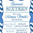16th birthday invitation, Sweet Sixteen invitation,  Teen birthday Chevron Glitter Blue