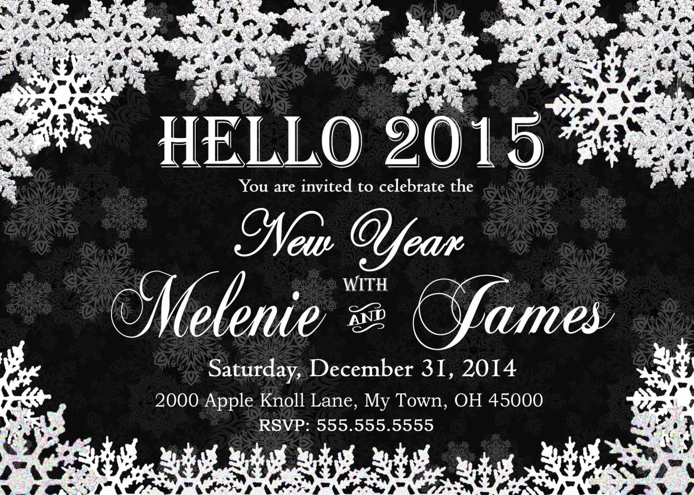 New Year Digital Invitation Snowflake White Printable Personalized 2015 New Year Invitation